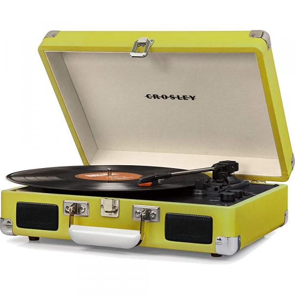 Crosley Cruiser Deluxe Vintage 3-Speed Bluetooth Suitcase Turntable, Green