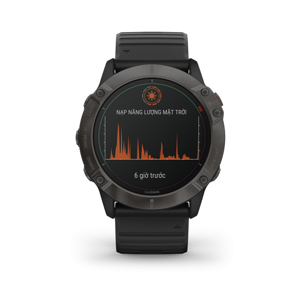 Garmin fēnix 6X Pro Solar - Titanium Carbon Gray DLC with Black Band