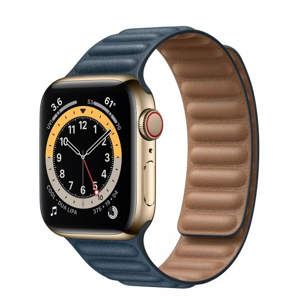 Apple Watch Series 6 GPS 44mm Gold Stainless Steel Case with Leather Link