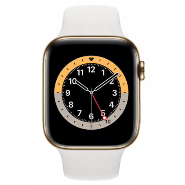 Series 5 GPS + Cellular 44mm Gold Stainless Steel Case with White Sport Band