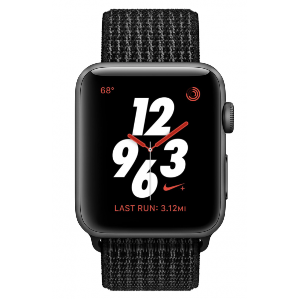 Apple Watch 38mm Nike+ Space Gray Aluminum Case with Black/Pure Platinum Nike Sport Loop
