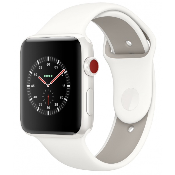 Apple Watch 42mm Edition White Ceramic Case with Soft White/Pebble Sport Band