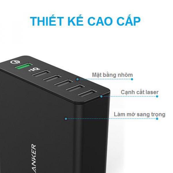 Sạc Anker 6 cổng, 60w, Quick Charge 3.0 - [Powerport+ 6, 60w, QC 3.0] - A2063