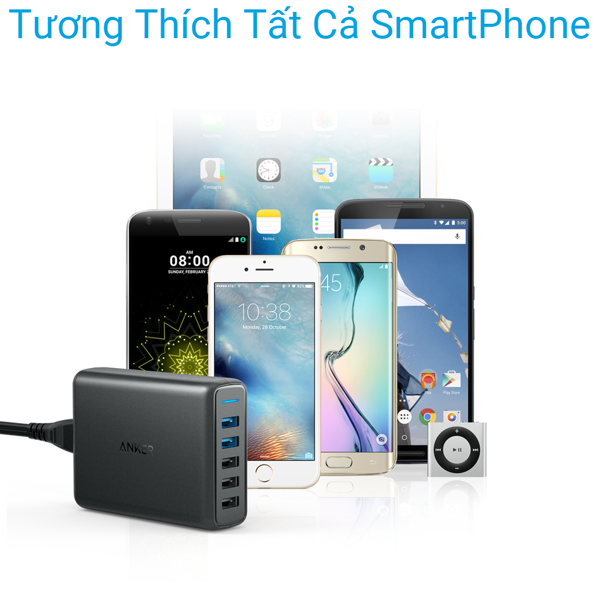 Sạc Anker 5 cổng, 63w, 2 cổng Quick Charge 3.0 - A2054