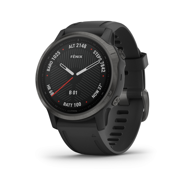 Fenix 6S - Sapphire, 42mm, Carbon Gray DLC with Black Band