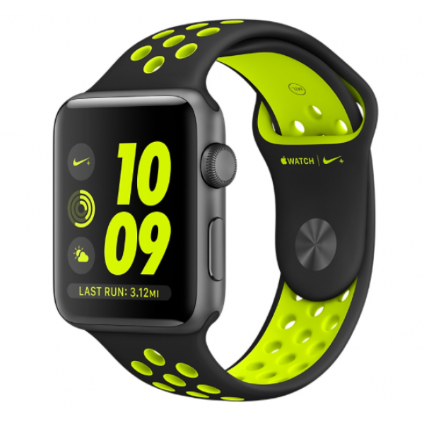 Space Gray Aluminum Case with Black/Volt Nike Sport Band