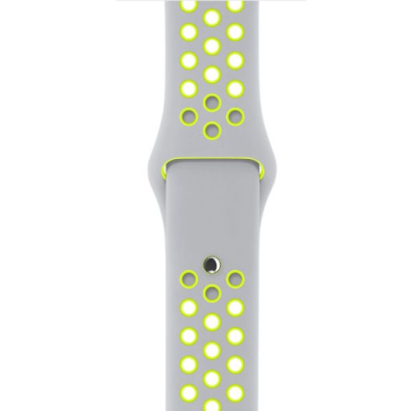 Silver Aluminum Case with Flat Silver/Volt Nike Sport Band